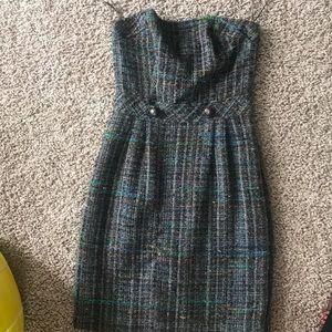 Trina Turk Strapless Wool Tweed Dress size 0